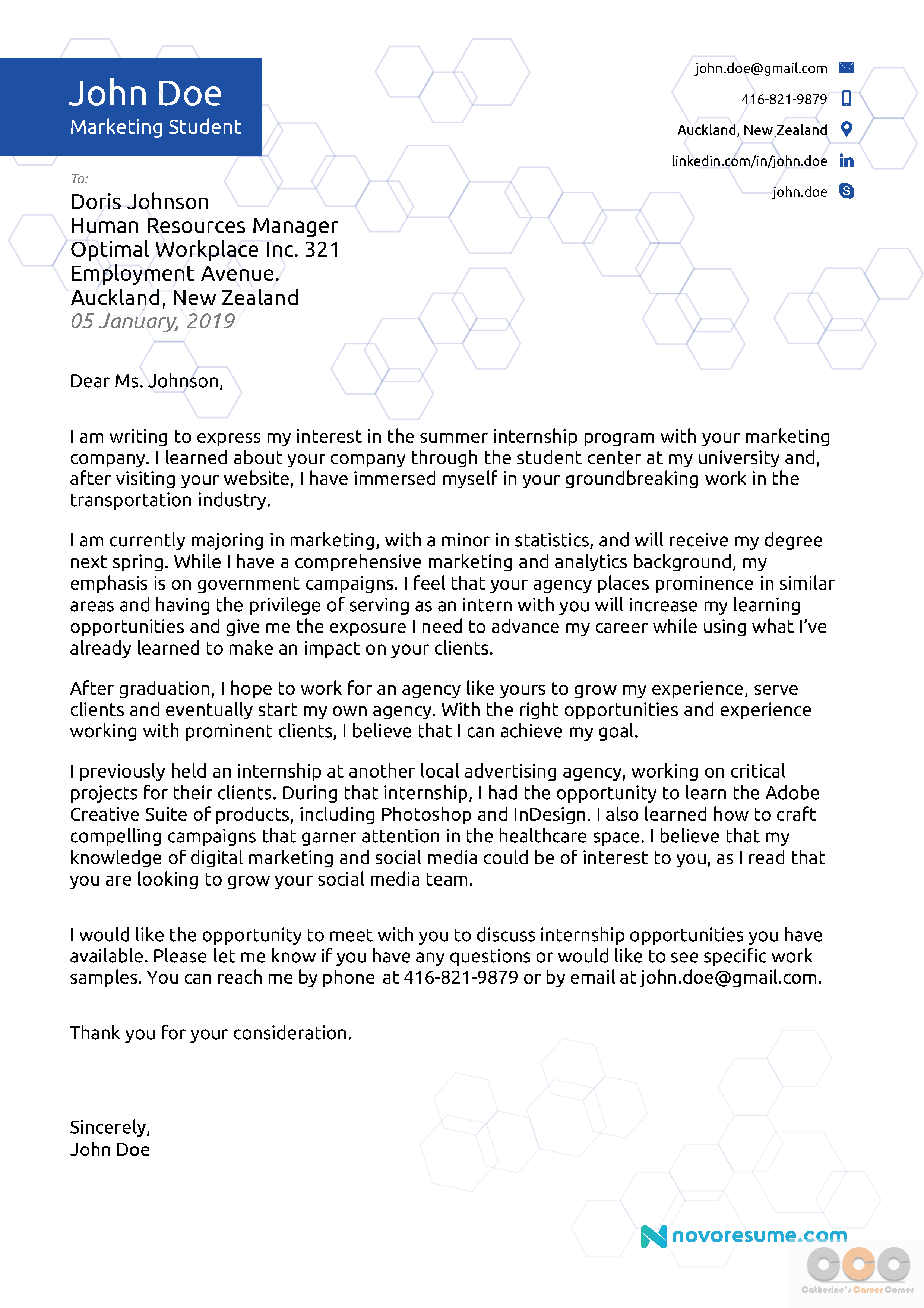 Sample Marketing Cover Letter from catherinescareercorner.com